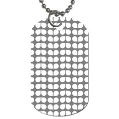 Gray And White Leaf Pattern Dog Tag (one Sided) by creativemom