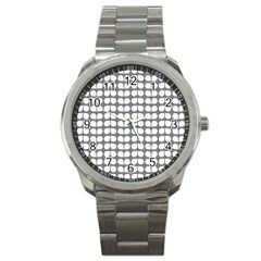 Gray And White Leaf Pattern Sport Metal Watch by creativemom