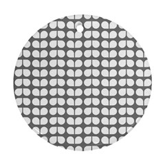 Gray And White Leaf Pattern Round Ornament (two Sides) by creativemom