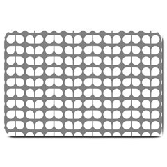 Gray And White Leaf Pattern Large Door Mat by creativemom