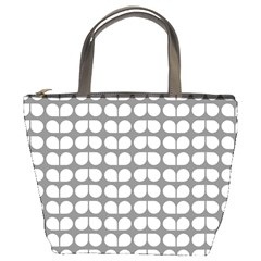Gray And White Leaf Pattern Bucket Handbag by creativemom