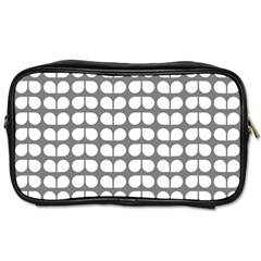 Gray And White Leaf Pattern Travel Toiletry Bag (two Sides) by creativemom