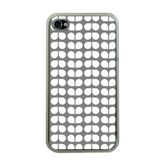 Gray And White Leaf Pattern Apple Iphone 4 Case (clear) by creativemom