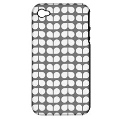Gray And White Leaf Pattern Apple Iphone 4/4s Hardshell Case (pc+silicone) by creativemom
