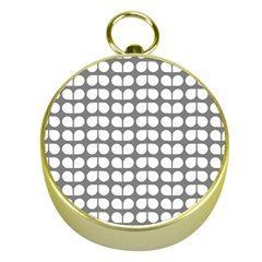 Gray And White Leaf Pattern Gold Compass by creativemom
