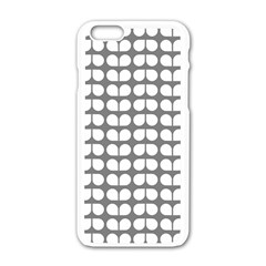Gray And White Leaf Pattern Apple Iphone 6 White Enamel Case by creativemom