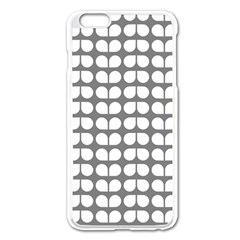 Gray And White Leaf Pattern Apple Iphone 6 Plus Enamel White Case by creativemom