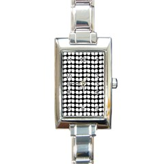 Black And White Leaf Pattern Rectangular Italian Charm Watch by creativemom