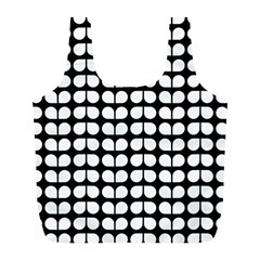 Black And White Leaf Pattern Reusable Bag (l) by creativemom