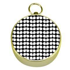 Black And White Leaf Pattern Gold Compass by creativemom