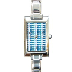 Blue Green Leaf Pattern Rectangular Italian Charm Watch by creativemom