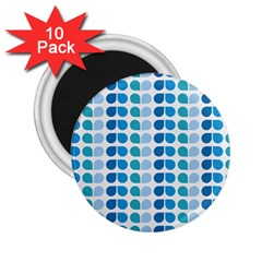 Blue Green Leaf Pattern 2 25  Button Magnet (10 Pack) by creativemom