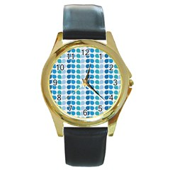 Blue Green Leaf Pattern Round Leather Watch (gold Rim)  by creativemom