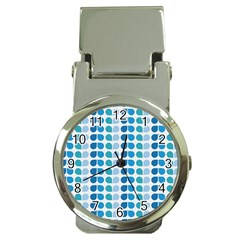 Blue Green Leaf Pattern Money Clip With Watch
