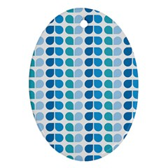 Blue Green Leaf Pattern Oval Ornament (two Sides) by creativemom