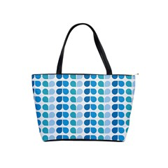 Blue Green Leaf Pattern Large Shoulder Bag by creativemom
