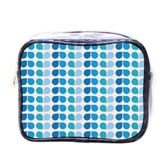 Blue Green Leaf Pattern Mini Travel Toiletry Bag (one Side) by creativemom