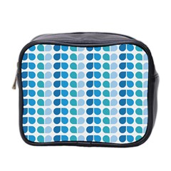 Blue Green Leaf Pattern Mini Travel Toiletry Bag (two Sides) by creativemom