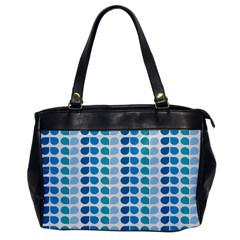 Blue Green Leaf Pattern Oversize Office Handbag (one Side) by creativemom