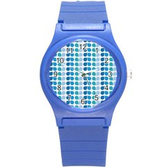 Blue Green Leaf Pattern Plastic Sport Watch (small) by creativemom