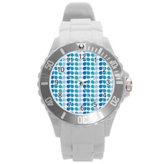 Blue Green Leaf Pattern Plastic Sport Watch (large) by creativemom