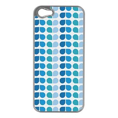 Blue Green Leaf Pattern Apple Iphone 5 Case (silver) by creativemom