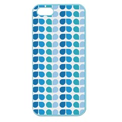 Blue Green Leaf Pattern Apple Seamless Iphone 5 Case (color) by creativemom