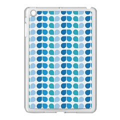 Blue Green Leaf Pattern Apple Ipad Mini Case (white) by creativemom