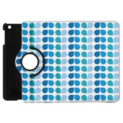 Blue Green Leaf Pattern Apple Ipad Mini Flip 360 Case by creativemom