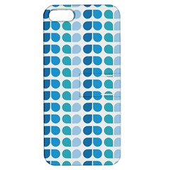 Blue Green Leaf Pattern Apple Iphone 5 Hardshell Case With Stand by creativemom
