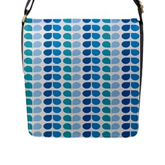 Blue Green Leaf Pattern Flap Closure Messenger Bag (large) by creativemom