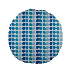 Blue Green Leaf Pattern 15  Premium Flano Round Cushion  by creativemom