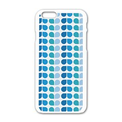 Blue Green Leaf Pattern Apple Iphone 6 White Enamel Case by creativemom