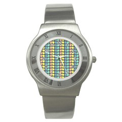 Colorful Leaf Pattern Stainless Steel Watch (slim) by creativemom
