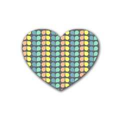 Colorful Leaf Pattern Drink Coasters 4 Pack (heart)  by creativemom