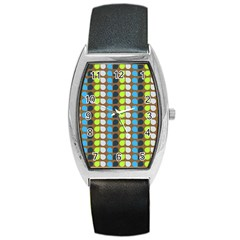 Colorful Leaf Pattern Tonneau Leather Watch by creativemom