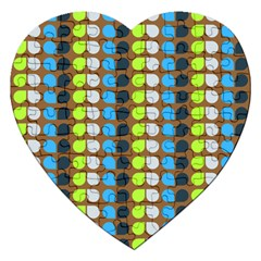 Colorful Leaf Pattern Jigsaw Puzzle (heart) by creativemom