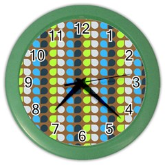 Colorful Leaf Pattern Wall Clock (color) by creativemom