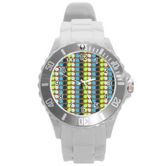 Colorful Leaf Pattern Plastic Sport Watch (large) by creativemom