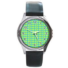Blue Lime Leaf Pattern Round Leather Watch (silver Rim) by creativemom