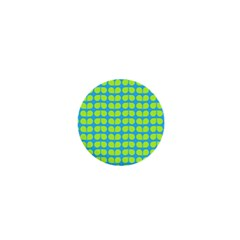 Blue Lime Leaf Pattern 1  Mini Button Magnet by creativemom