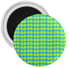 Blue Lime Leaf Pattern 3  Button Magnet by creativemom