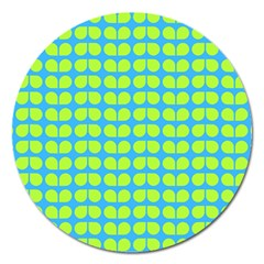 Blue Lime Leaf Pattern Magnet 5  (round) by creativemom