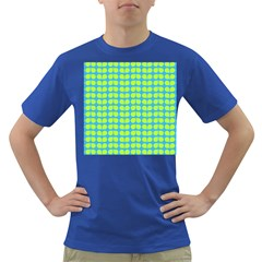 Blue Lime Leaf Pattern Men s T Shirt (colored) by creativemom