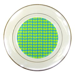 Blue Lime Leaf Pattern Porcelain Display Plate by creativemom