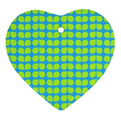Blue Lime Leaf Pattern Heart Ornament (two Sides) by creativemom