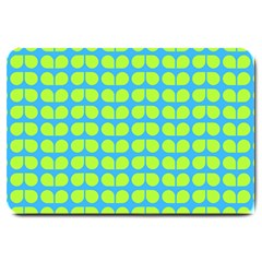Blue Lime Leaf Pattern Large Door Mat by creativemom