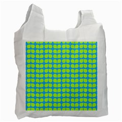 Blue Lime Leaf Pattern White Reusable Bag (two Sides) by creativemom