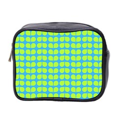 Blue Lime Leaf Pattern Mini Travel Toiletry Bag (two Sides) by creativemom