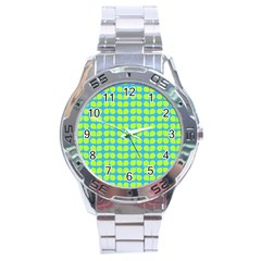 Blue Lime Leaf Pattern Stainless Steel Watch by creativemom